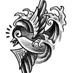 Old school Swallow and water tattoo 250x250 Disegni tattoo   Rondini