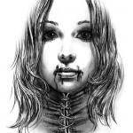 Realistic vampire girl tattoo