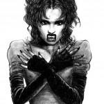 Realistic vampire woman tattoo
