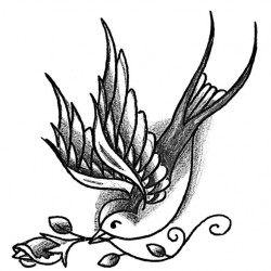 Swallow and rose tattoo 250x250 Disegni tattoo   Rondini