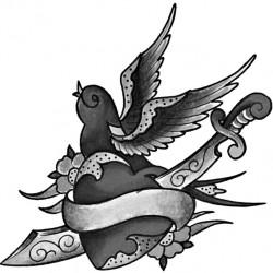Swallow sword and heart tattoo 250x250 Disegni tattoo   Rondini