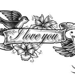 Swallows and flowers tattoo 250x250 Disegni tattoo   Rondini