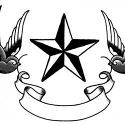 Swallows and star tattoo 250x250 Disegni tattoo   Rondini