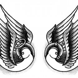 Swallows angel and devil tattoo 250x250 Disegni tattoo   Rondini