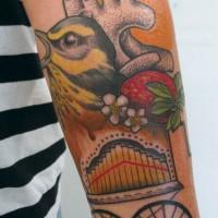 bird strawberry tattoo