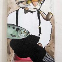 cat fish painting