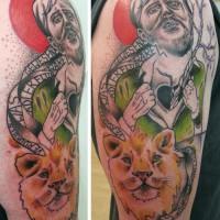 man lion tattoo 200x200 Tattoo Artist Gallery: Jessica Mach
