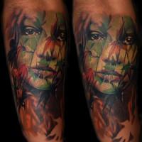 woman leaves tattoo