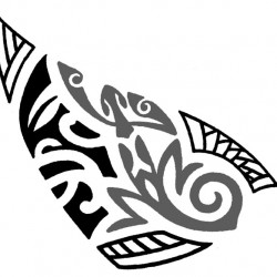 Maori tribal tattoo with tiki and gecko