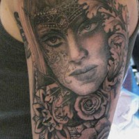 woman rose tattoo