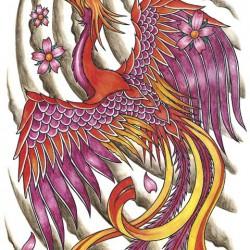 08 flowers and phoenix tattoo 250x250 Disegni Tattoo