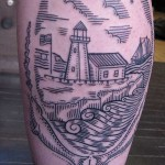 lighthouse tattoo 150x150 Tattoo artist gallery: Duke Riley