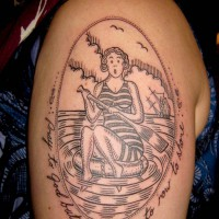 paddling pinup tattoo