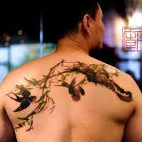 birds tattoo, Joey Pang