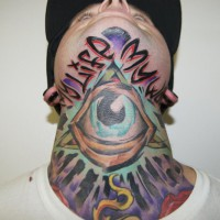 lettering eye tattoo