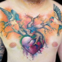 Birds heart tattoo