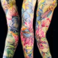 Butterflies frog tattoo