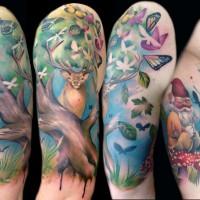 Butterflies tree gnomes tattoo
