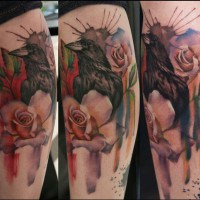 Crow rose tattoo