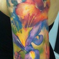 Flowers butterflies tattoo