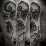skull sleeve tattoo 150x150 Tattoo Artist Gallery: Ien Levin