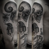 skull sleeve tattoo 200x200 Tattoo Artist Gallery: Ien Levin
