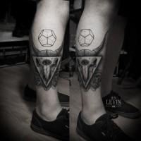 Triangle skull roses tattoo