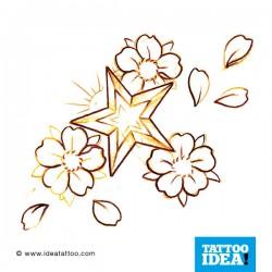 tattoo disegni stella e fiore