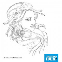 tattoo disegni geisha sketch