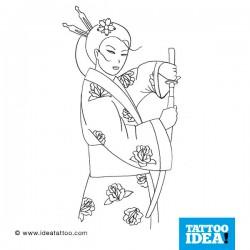 tattoo disegni geisha with sword
