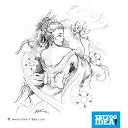 tattoo disegni lotus & geisha