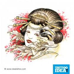 tattoo disegni geisha in the wind