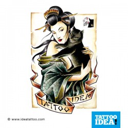 tattoo disegni geisha with black cat