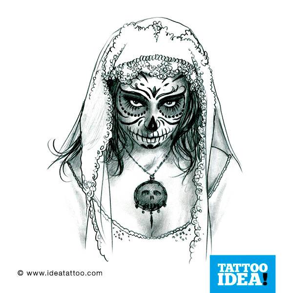 Tattoo Flash – Skull woman