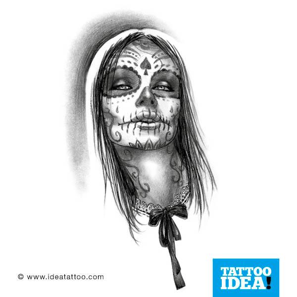 skull woman tattoo skull woman with hat tattoo skull woman