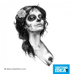 Tattoo idea Skull Woman Catrina4 250x250 Disegni Tattoo   Donna teschio