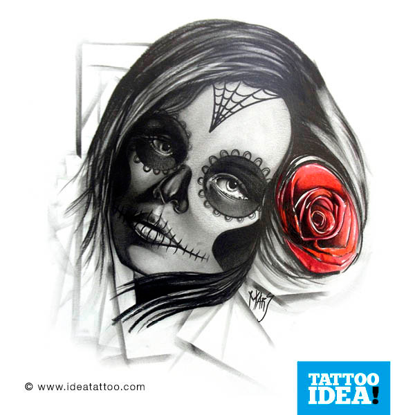 Skull woman with red rose Tattoo
