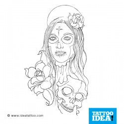 Tattoo idea Skull Woman Catrina9 250x250 Disegni Tattoo   Donna teschio