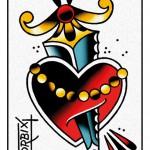 Disegnare un cuore con pugnale tattoo