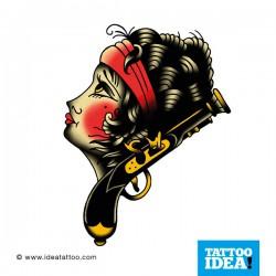 Old School Tattoo - donna e pistola