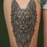 Decorative-Dotwork-Wolf-tattoo