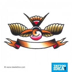 tatuaggio Rondine e bandiera