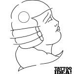 Disegna tatuaggio di volto femminile
