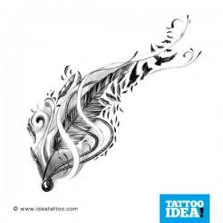 Disegno tattoo piume e uccelli