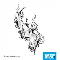 Tatuaggio di una Piuma in fiamme