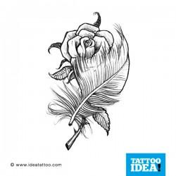 Tatuaggio di una Piuma con rosa
