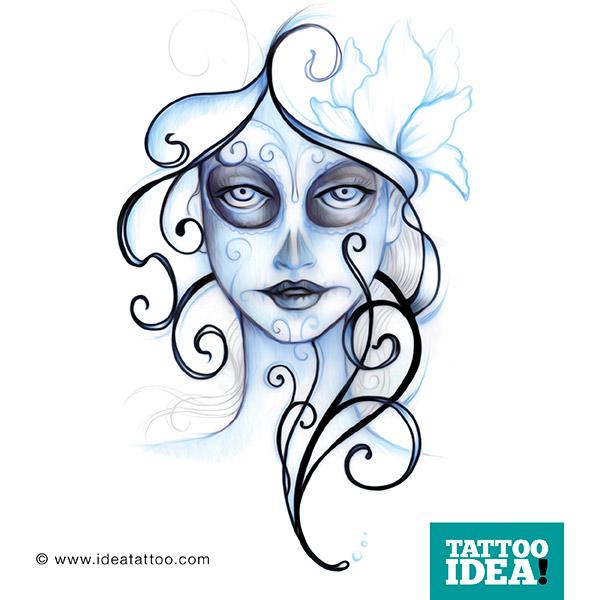 Tattoo flash catrina for Teschi da disegnare