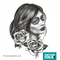 donna teschio tattoo - la catrina