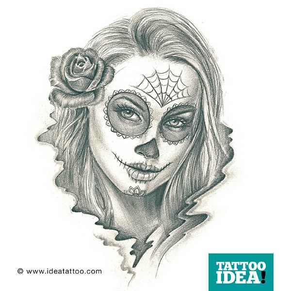 tattoo flash catrina ideatattoo sugar skull vector tutorial sugar skull vector png