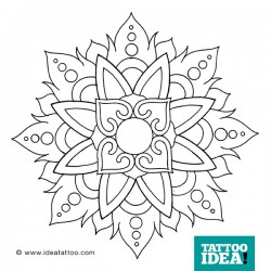 Disegno per tatuaggio mandala floreale